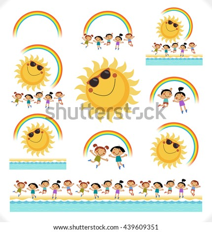 Happy children with the sun, a rainbow on the seashore. Summer background. Blank template. Sketch cartoon. File is saved in 10 EPS version. - stock vector