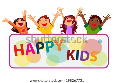 Happy children with their hands up isolated on white with banner - stock vector