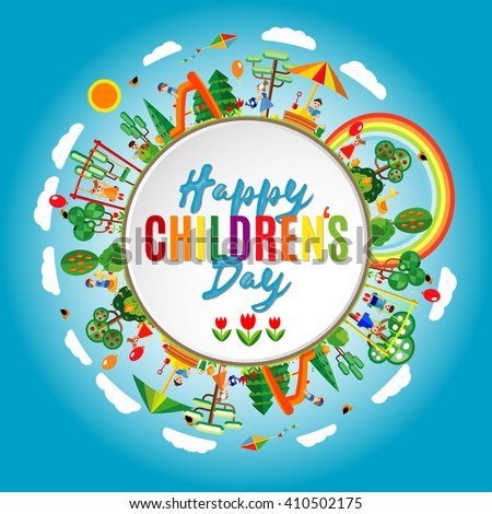 Happy childrens day background. Vector illustration of Universal Children day poster. Greeting card. Flat. Round frame.  - stock vector