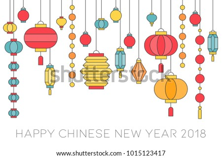 happy chinese new year banner filled outline hanging paper lantern