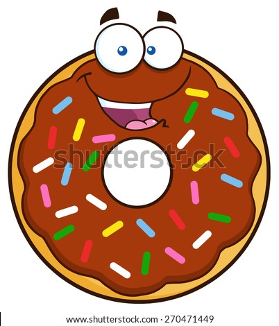 Happy Chocolate Donut Cartoon Character With Sprinkles. Vector Illustration Isolated On White - stock vector