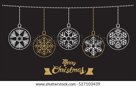 Happy Christmas calligraphy with snowflake 3, for banner, poster, greeting card, party invitation.