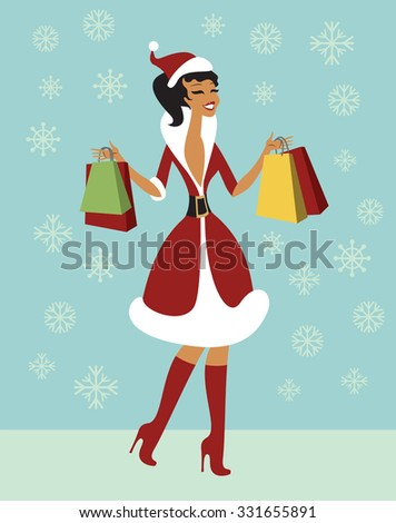 Happy Christmas girl holding shopping bags vector - stock vector
