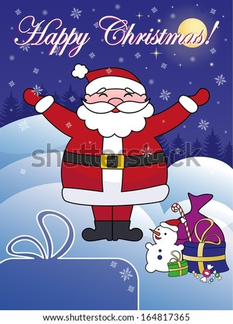 Happy Christmas greeting card with Santa Claus. Copy space in left bottom corner. Title in separate layer for easier editing. - stock vector