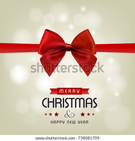 Happy Christmas. Happy New Year. Red detailed Ribbon with creati