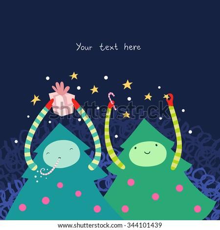Happy Christmas Tree cute illustration. - stock vector