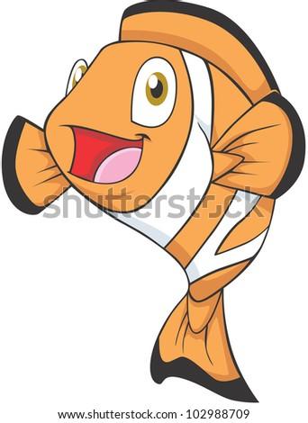 Happy Clownfish Cartoon - stock vector