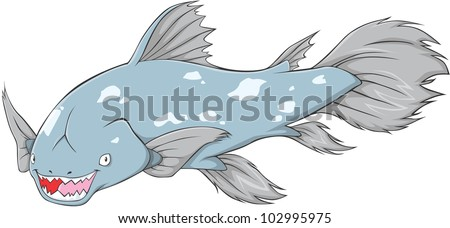 Happy Coelacanth Cartoon