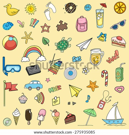 Happy colorful children Summer fun set, of various items, vector illustration - stock vector