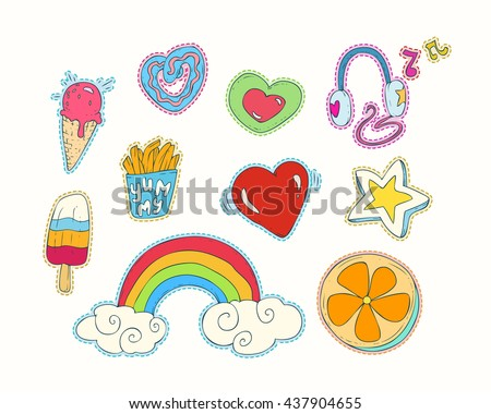 Happy colorful patches collection: Cute hearts, stars, rainbow, clouds, tasty food, donuts, baking, ice cream, French fries, orange, decorative elements...Hand drawn vector Illustration, retro style. - stock vector