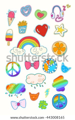 Happy colorful patches collection: Cute hearts, stars, rainbow, clouds, tasty food, donuts, baking, ice cream, French fries, orange, decorative elements... Hand drawn vector Illustration, retro style. - stock vector