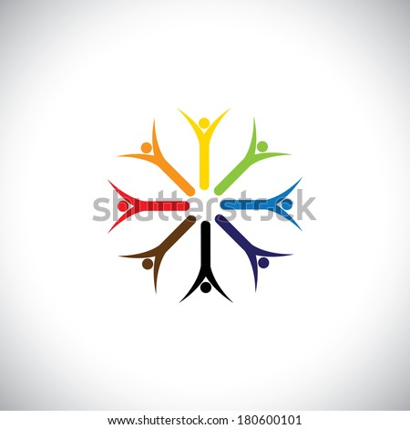 happy colorful people praying together in circle - concept vector. This graphic also represents religious community, team work and team building, inspired employees, children & kids enjoying - stock vector