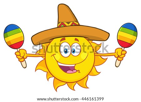 Happy Colorful Sun Cartoon Mascot Character With Sombrero Hat Playing Maracas. Vector Illustration Isolated On White Background - stock vector