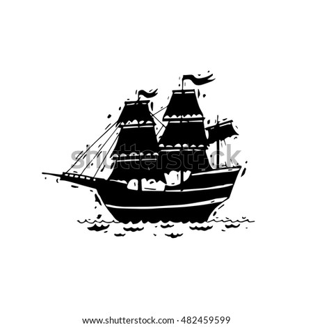 Happy Columbus Day. Ship. Black on white. Hand draw. Flat design vector illustration.