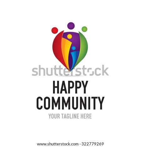 Happy Community Logo - stock vector