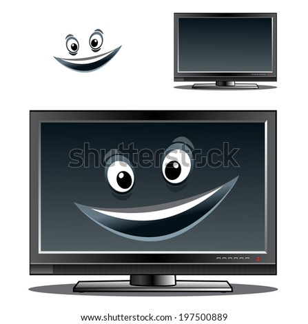 Happy computer monitor or television screen with a big smile on the screen and a second variant with no smile and a separate face element - stock vector