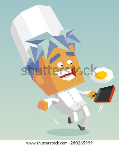 happy cook sunnyside up.vector illustration - stock vector