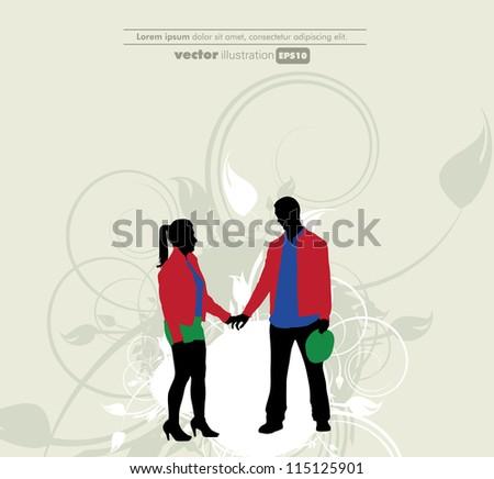 Happy couple - stock vector