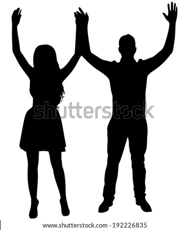 Happy couple, hands up. Vector - stock vector