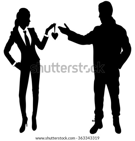 happy couple in love, Woman giving heart to a young man - stock vector