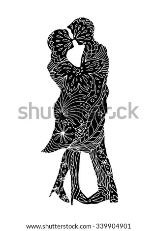 happy couple lover kissing with abstract flower floral pattern design background, wedding card or engagement, engage, valentines day, happiness, hand drawn vector design illustration vintage retro - stock vector