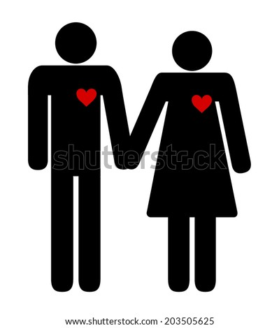 Happy couple, man and woman black silhouette icons with red heart holding hands. vector art image illustration, isolated on white background - stock vector