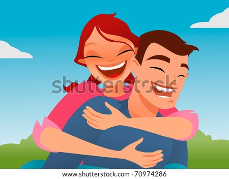 Happy couple playing piggyback on a sunny day.Vector based illustration - stock vector