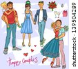 Happy Couples, Hand drawn young people in love - stock vector