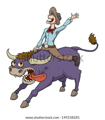 Happy Cowboy Riding Bull In Rodeo, Vector Illustration