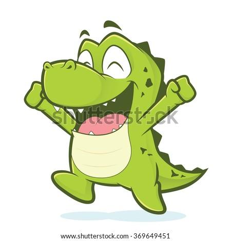 Happy crocodile or alligator jumping - stock vector