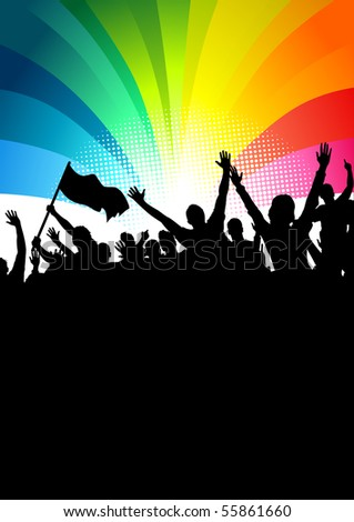 Happy crowd of people at a festival. Vector illustration - stock vector