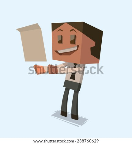 Happy Cube businessman reading a letter, vector - stock vector