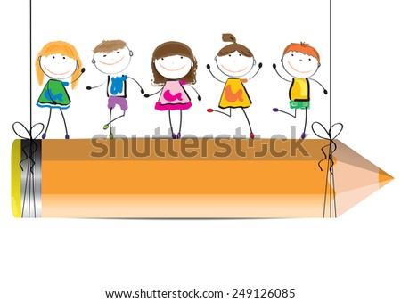 Happy, cute cartoon kids with crayon as a  banner - stock vector