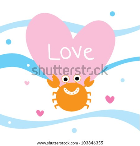 happy cute crab with love - stock vector