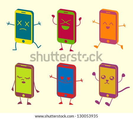 Happy Cute Kawaii Smart Phone Characters - stock vector