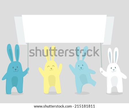 Happy cute rabbits with paper ribbon. Vector illustration - stock vector