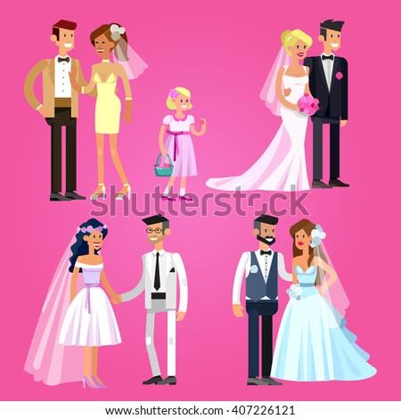 Happy cute wedding couple. Vector wedding detailed character, wedding  beautiful  smiling bride and groom. Cool wedding flat illustration. Vector wedding  - stock vector