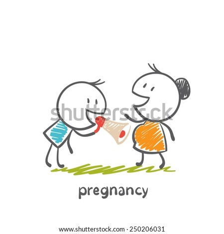 Happy dad talking to his pregnant wife belly illustration - stock vector