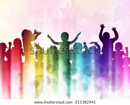 happy dancing children - stock vector