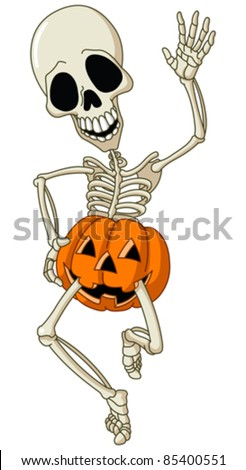 Happy dancing skeleton wearing a pumpkin - stock vector