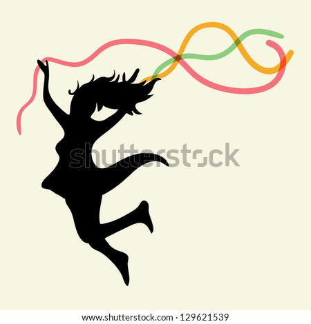 Happy dancing woman with ribbons. EPS10 file version. This illustration contains transparencies and is layered for easy manipulation and custom coloring - stock vector