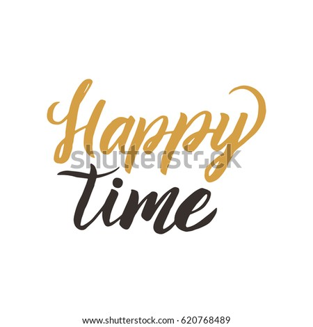 Happy day. Conceptual handwritten phrase or word. Hand drawn typography poster. Calligraphic design. Modern brush calligraphy on the white background.