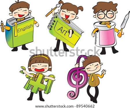 Happy Days and Class Schedules - dressed up costumes for job of the future with schoolgirls and schoolboys - stock vector