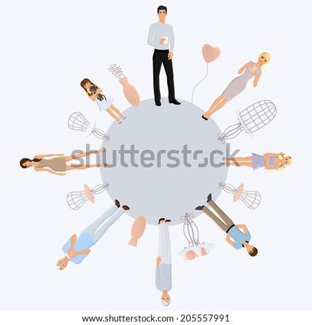 Happy different generation family portrait around the globe vector illustration - stock vector