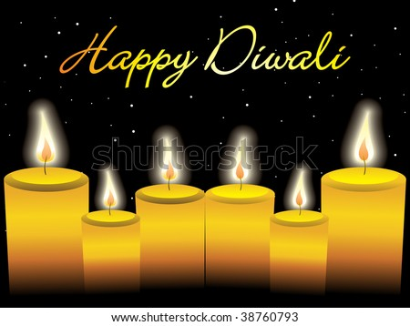 happy diwali background with collection of candles