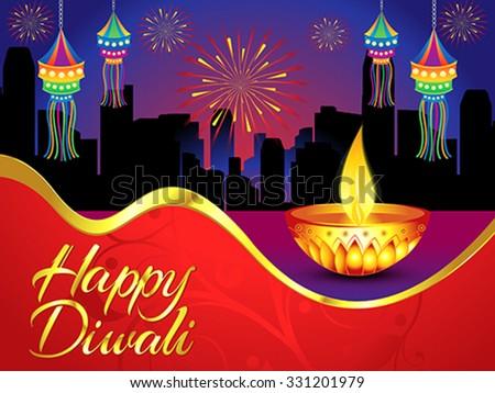 happy diwali background with golden deepak vector illustration - stock vector