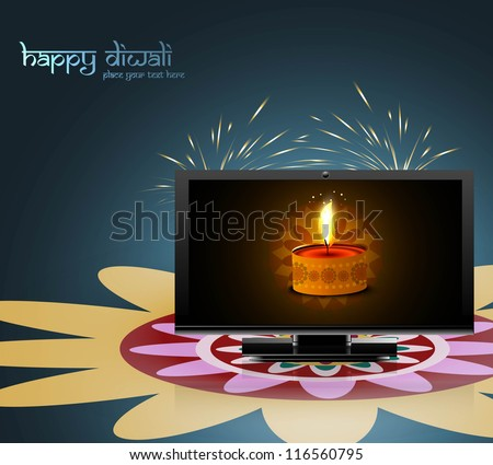 Happy diwali beautiful led tv screen celebration colorful design illustration - stock vector