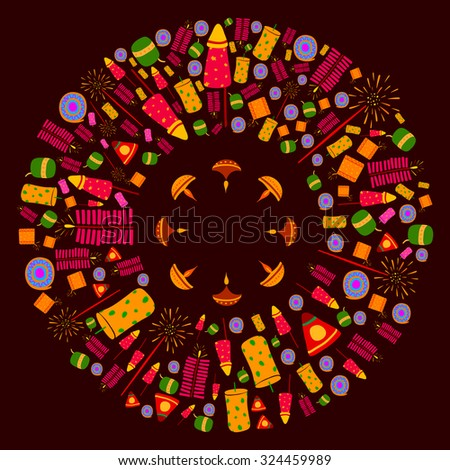 Happy Diwali celebration background in vector - stock vector