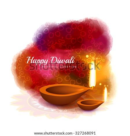 happy diwali colorful design with diya in watercolor style vector - stock vector