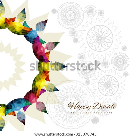 Happy diwali colorful diya celebration decorated vector - stock vector
